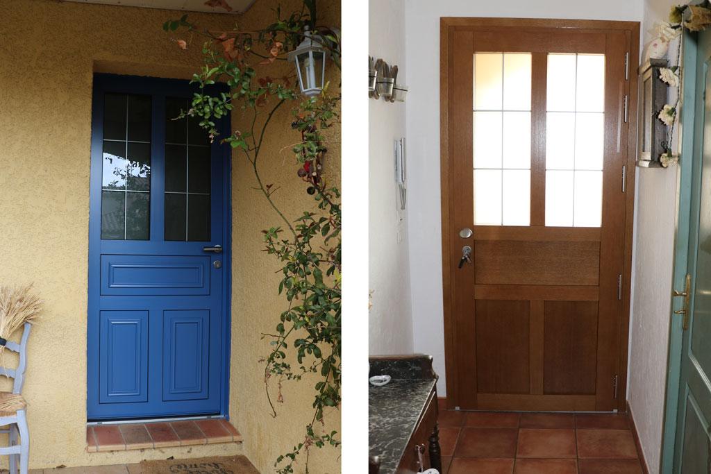 Ecoenergie Habitat, professionnels de l'économie d'énergie, spécialiste des menuiseries, réalise vos portes d'entrée mixte bois et alu.